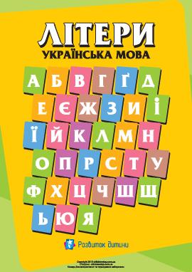 Написание букв украинского алфавита