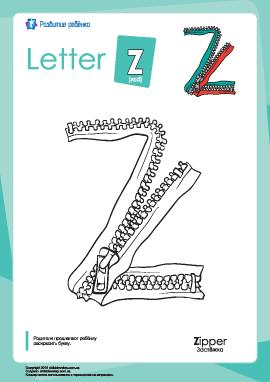 Раскраска «Английский алфавит»: буква «Z»