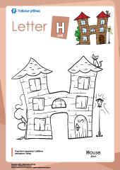 Раскраска «Английский алфавит»: буква «H» – Развитие ребенка