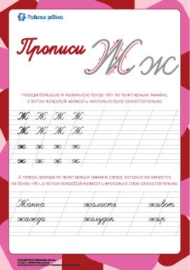 Прописи: буква Ж (русский алфавит)