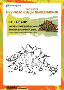Раскраска динозавры: стегозавр