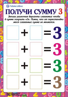 Найди слагаемые цифры «3»
