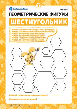 Раскраска «Геометрические фигуры»: шестиугольник