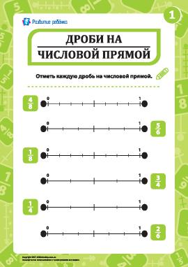 Отмечаем дроби на числовой прямой № 1