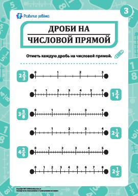Отмечаем дроби на числовой прямой № 3