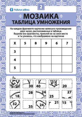 Складываем мозаику «Таблица умножения» № 2