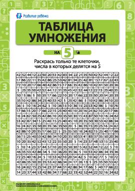 Раскраска «Учим таблицу умножения на 5»