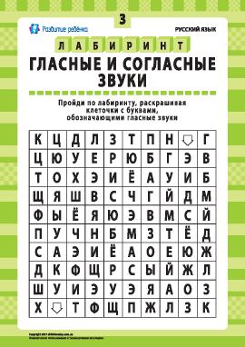 Гласные и согласные звуки № 3 (русский язык)