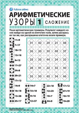 Арифметический узор № 1: сложение