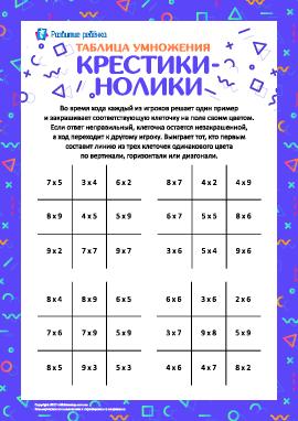 Играем с таблицей умножения: крестики-нолики