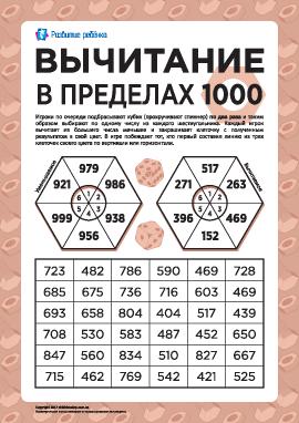 Вычитание трехзначных чисел в пределах 1000