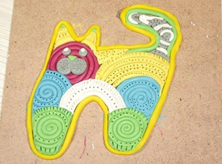 Пластилиновый кот: как сделать панно из спиралей