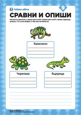 Опиши рисунки и сравни №9 (рептилии)