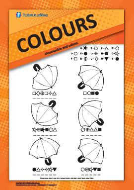 Названия цветов на английском: раскрась зонтики