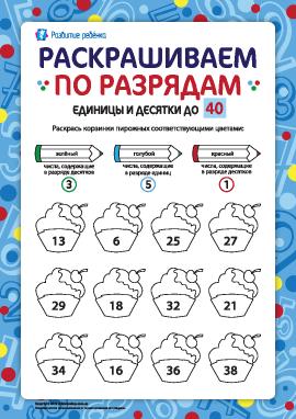 Раскрашиваем и изучаем разряды чисел до 40