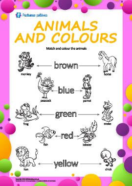 Названия цветов на английском: раскрась животных