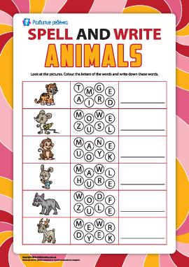 Пишем по буквам названия животных (английский язык)