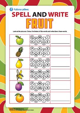 Пишем по буквам названия фруктов (английский язык)