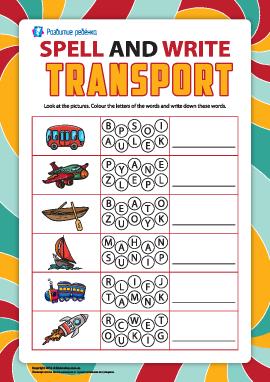 Пишем по буквам названия транспортных средств (английский язык)