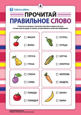 Выбери правильное слово №4 (развитие навыков чтения)