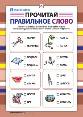 Выбери правильное слово №6 (развитие навыков чтения)