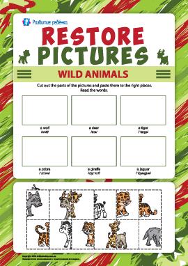 Восстанови рисунки: наклей изображения диких животных (английский язык)