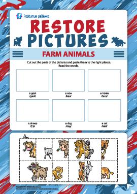 Восстанови рисунки: наклей изображения домашних животных (английский язык)