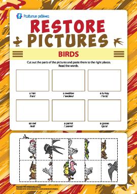 Восстанови рисунки: наклей изображения птиц (английский язык)