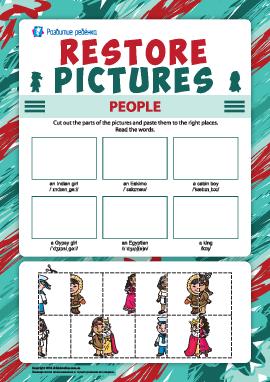 Восстанови рисунки: наклей изображения разных людей (английский язык)