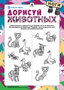 Дорисуй животных №4: развиваем внимательность, дорисовывая ноги