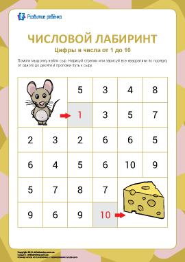 Числовой лабиринт №5: цифры от 1 до 10