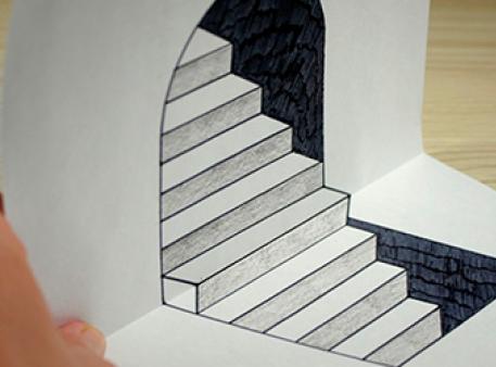 Оптическая иллюзия со ступеньками