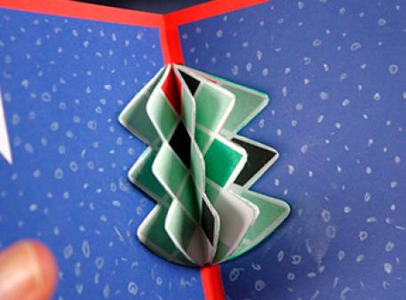 Новогодняя открытка с елкой: pop-up проект