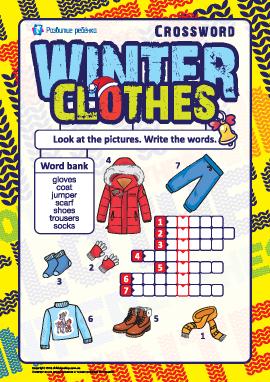 Кроссворд на английском «Зимняя одежда»