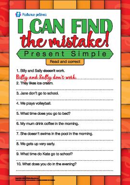 Находим ошибки в предложениях в Present Simple (на английском языке)
