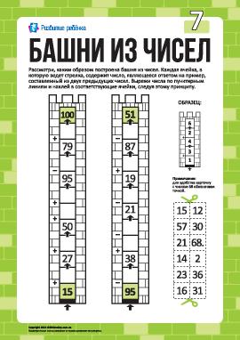 Башни из чисел №7: сложение и вычитание в пределах 100
