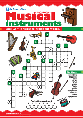 Кроссворд на английском «Музыкальные инструменты»
