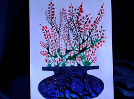 Картина с акварелью: дуем на каплю