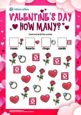 Посчитай рисунки: «День святого Валентина»