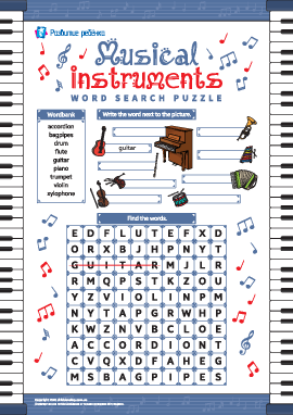 Головоломка «Музыкальные инструменты» (английский язык)