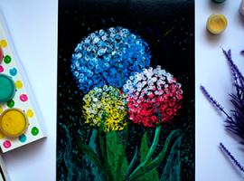 Рисуем цветы пальчиковыми красками